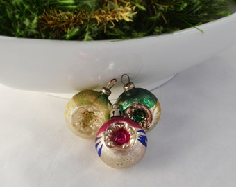 Vintage Glass Indent Ball Christmas Ornaments Made In Japan And Poland