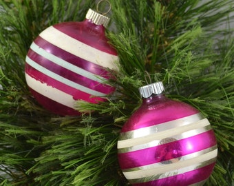 Vintage Pink Striped Glass Ball Christmas Ornaments