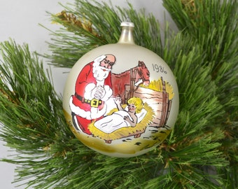 Vintage Glass Ball Christmas Ornament Dated 1986 Santa At The Manger