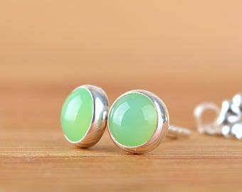 Natural Chrysoprase Stud Earrings, Green Gemstone Sterling Silver, 14k Gold Filled. Gift for Her, Wife, GirlFriend. Talisman for Libra, May