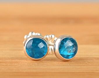 Neon Blue Apatite Earrings, Apatite Stud Earrings, Natural Gemstone Post earrings in Sterling Silver or 14k Gold Filled