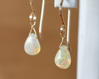 Natural Ethiopian Opal Earrings, October Birthstone, Genuine Gemstone Leverback Earring in Gold, Rose Gold, Sterling Silver. Gift for Women