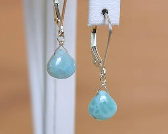 Larimar Earrings, Dominican Larimar Dangle Earrings, Caribbean Blue, Ocean blue Gemstone: 14K Rose Gold Filled Sterling Silver