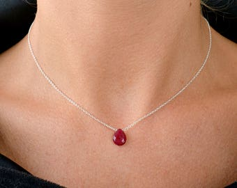 Genuine Ruby Necklace, Red, July Birthstone Necklace, Natural Ruby Pendant, Girlfriend Gift for her: Gold Filled, Rose Gold, Sterling Silver