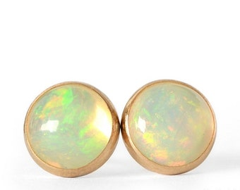 Color Play Petite Opal Earrings Ethiopian Welo Opal 14k Gold Filled