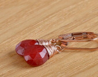 Genuine Ruby Dangle Earrings July Birthstone Christmas Gift for Her, Natural Red Gemstone Jewelry: 14K Rose Gold Filled Sterling Silver