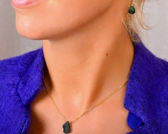 Raw Emerald Jewelry Set: Genuine Natural Emerald Earrings and Necklace, Green Stone, gift for women; 14K Rose Gold Filled Sterling Silver