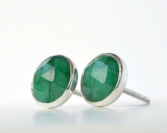 bc94df38a Genuine Emerald Stud Earrings - May Birthstone - Rose Cut - Natural Green  Gemstone in 14k Gold Filled or Sterling Silver