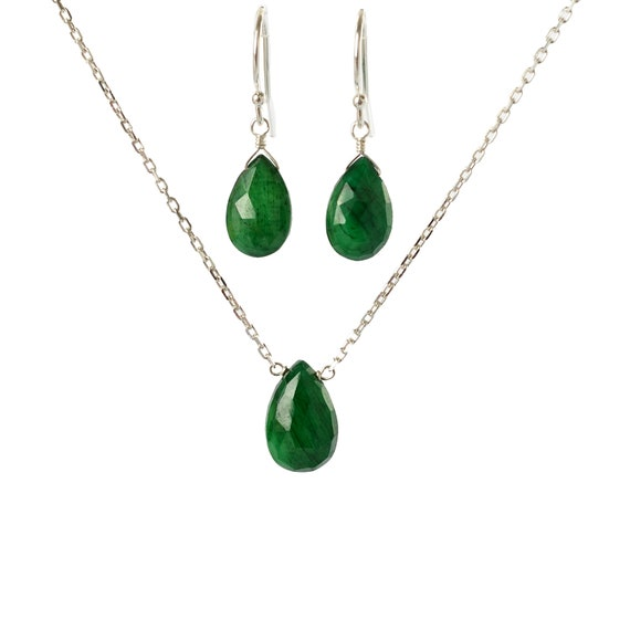 Natural Green Emerald Earrings /& Necklace in 14K Gold Filled Genuine Emerald Jewelry Set Rose Gold or Sterling Silver May Birthstone