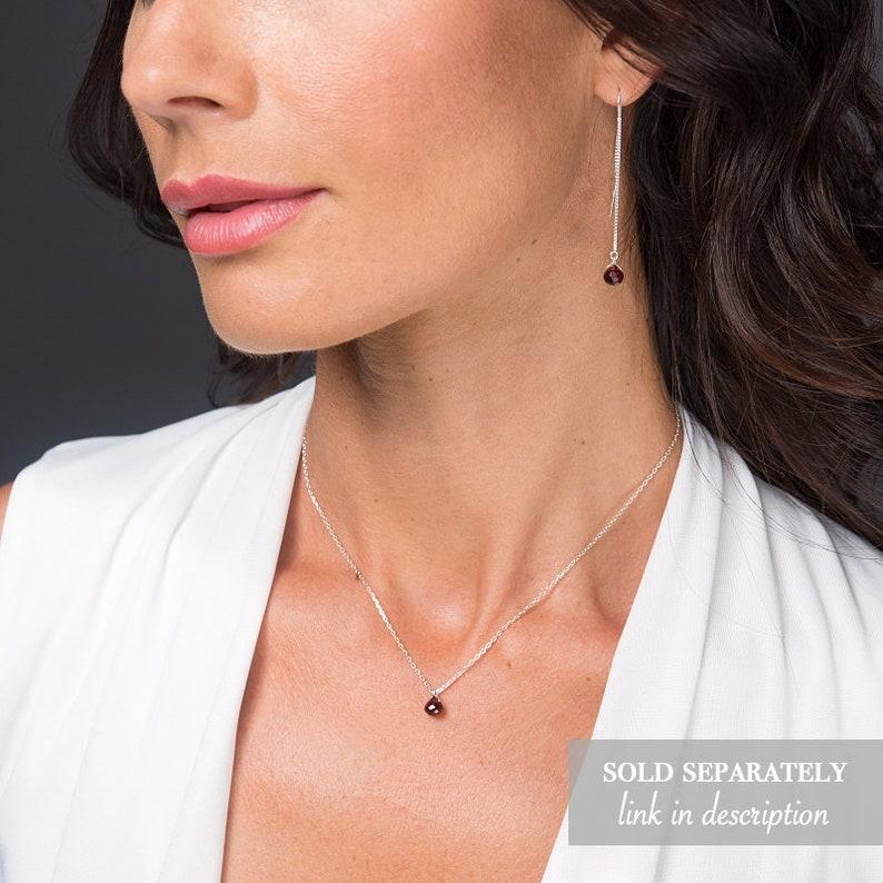 Rose Gold or Sterling Silver January Birthstone Garnet Threader Earrings Gift for Women Gemstone Earrings Splash Earrings in Gold
