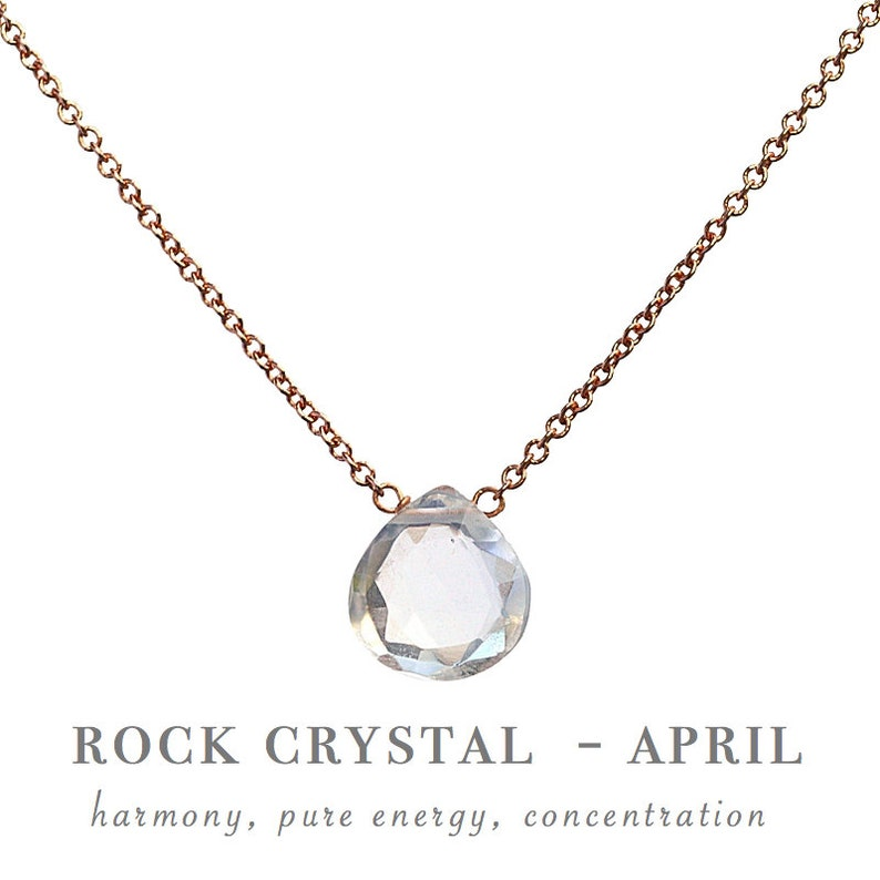 Crystal Necklace April Birthstone Necklace Rock Crystal Necklace Clear Quartz Pendant Gift for Women