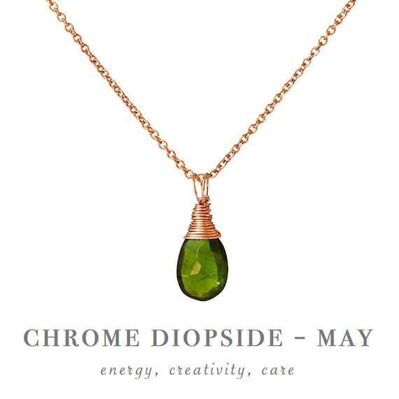 Natural Stone Pendant Chrome Diopside Pendant Genuine Chrome Diopside Pendant Necklace May Birthstone