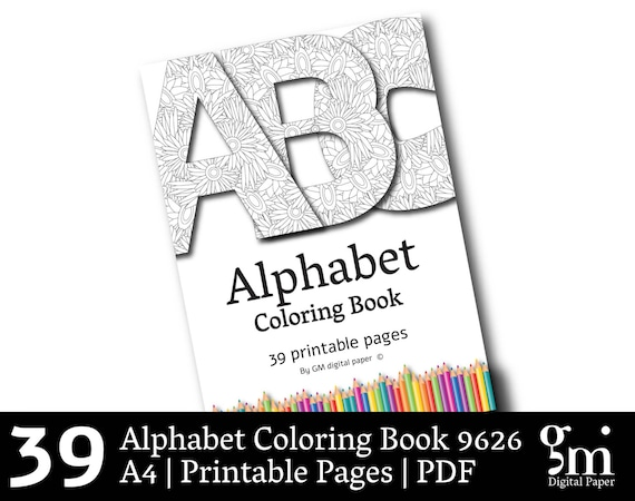 Coloring Book PDF Alphabet Pages Printable Instant Download Xmas Gift From DigitalPaperGM On Etsy Studio