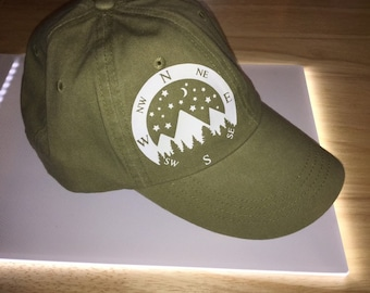 Compass nature hat compass hat hiking trails Appalachian trail PCT pacific  crest trail custom hats unisex Birthday gifts under 20 popular bd12c459f5e7