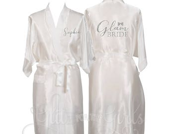 65d622499 Personalised Satin Bride Robe, Getting Ready Robe, Wedding Morning Robe,  Bride Dressing Gown, Bride to Be Robe, Glam Bride Robe