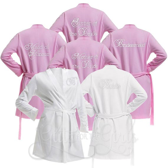 Set of 5 Personalised Cotton Jersey Bridal Party Robes | Etsy