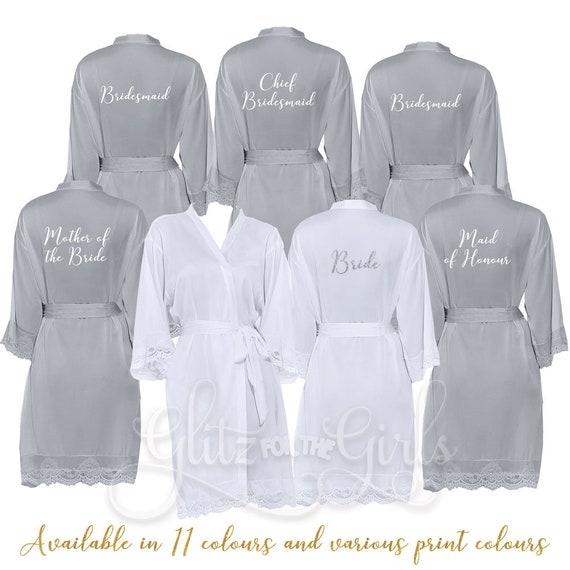 f94da57404115 Grey Lace Bridesmaid Robes Bridesmaid Robe Bride Dressing | Etsy