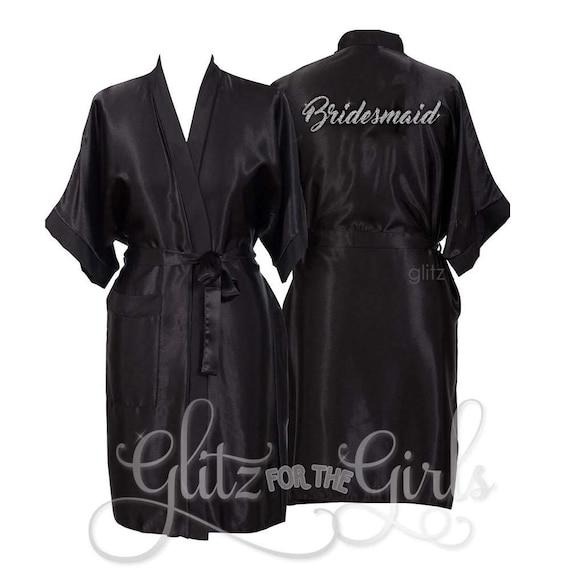 de9338a2264 Personalised Black Bridesmaid Robe Bride Dressing Gown Satin
