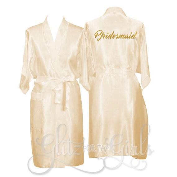 Personalisierte Champagner Gewand Braut-Bademantel Satin | Etsy
