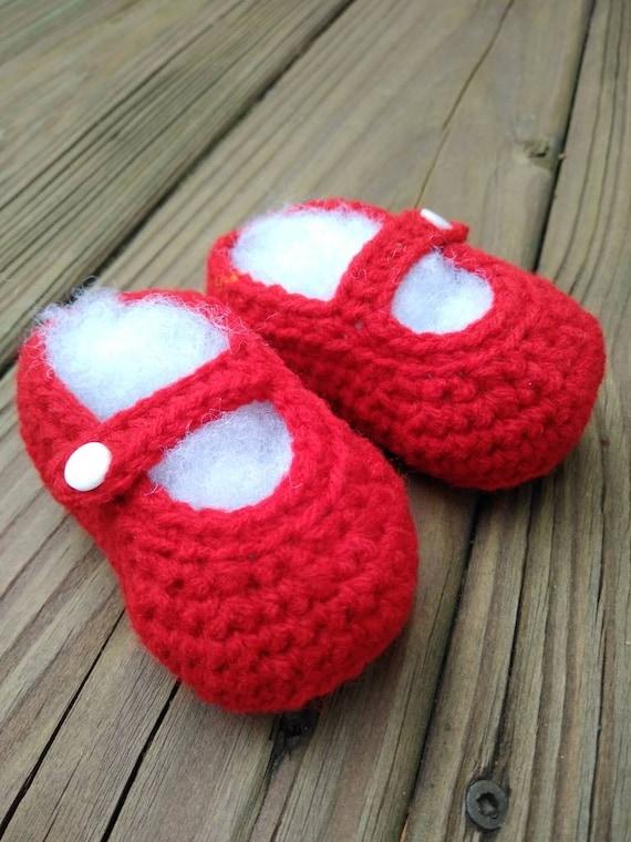 Ruby Slipper Mary Jane crochet baby