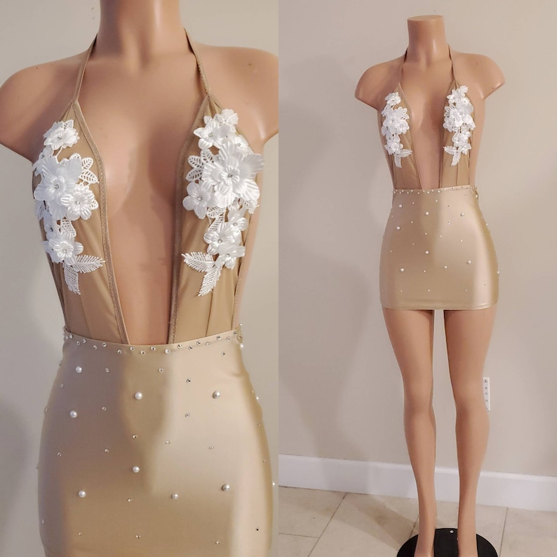 Nude mini halter dress with rhinestonesbirthday dressclubwearsexy dressrhinestone dresshalter dressbachelorette party