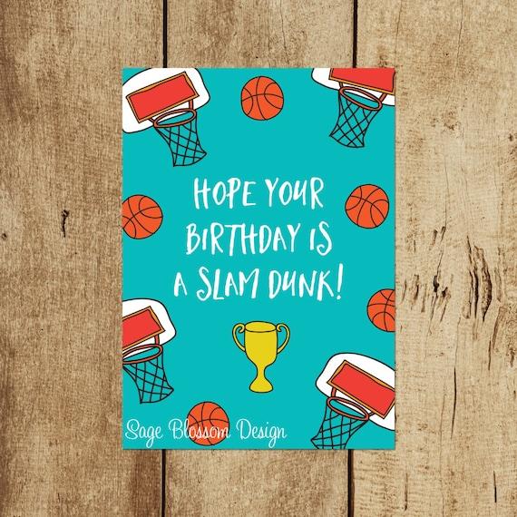 Printable Basketball Birthday Card Slam Dunk