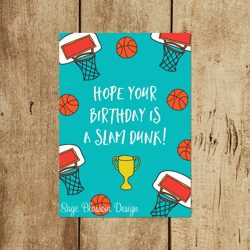 Printable Basketball Birthday Card Slam Dunk