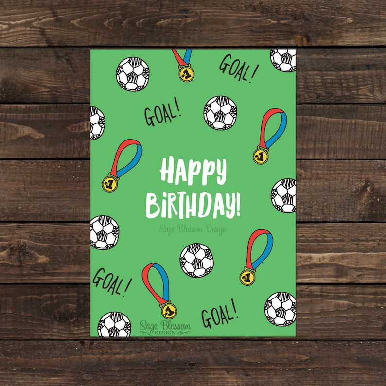 Printable Soccer Birthday Card