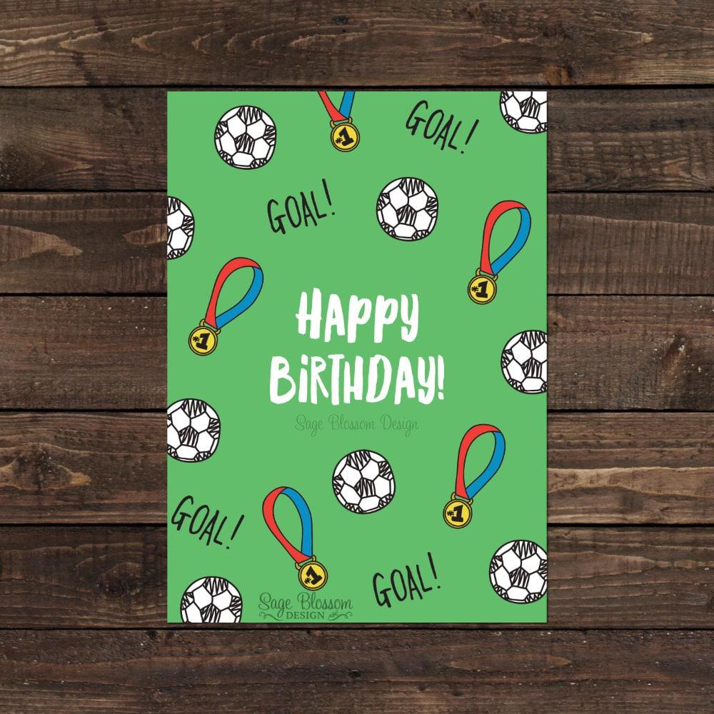 Printable Soccer Birthday Card Fan Goal Happy