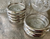 Silver Rimmed Glass Coasters