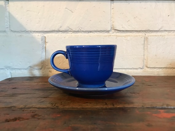 Fiestaware Sapphire 5 piece place setting retired Fiesta blue dish set