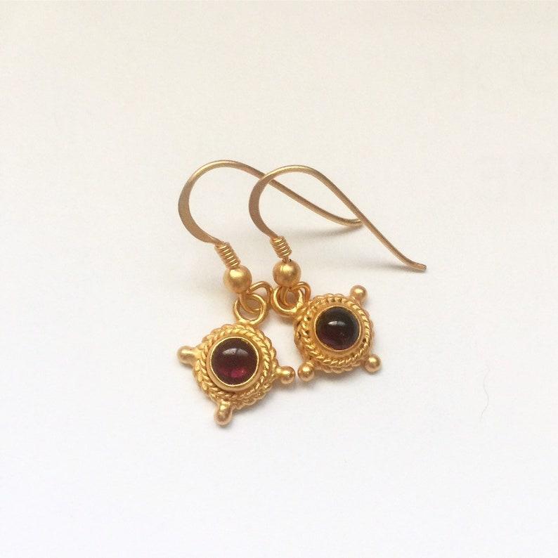 24k Velvet Gold Vermeil earrings with Red Garnet