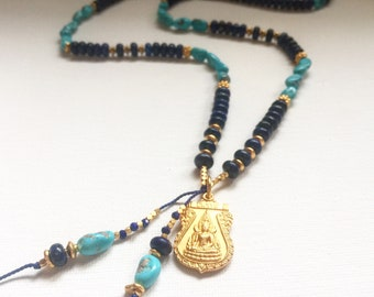 Lapis Lazuli, Sleeping beauty Turquoise and 24k Gold Vermeil Buddha Mala
