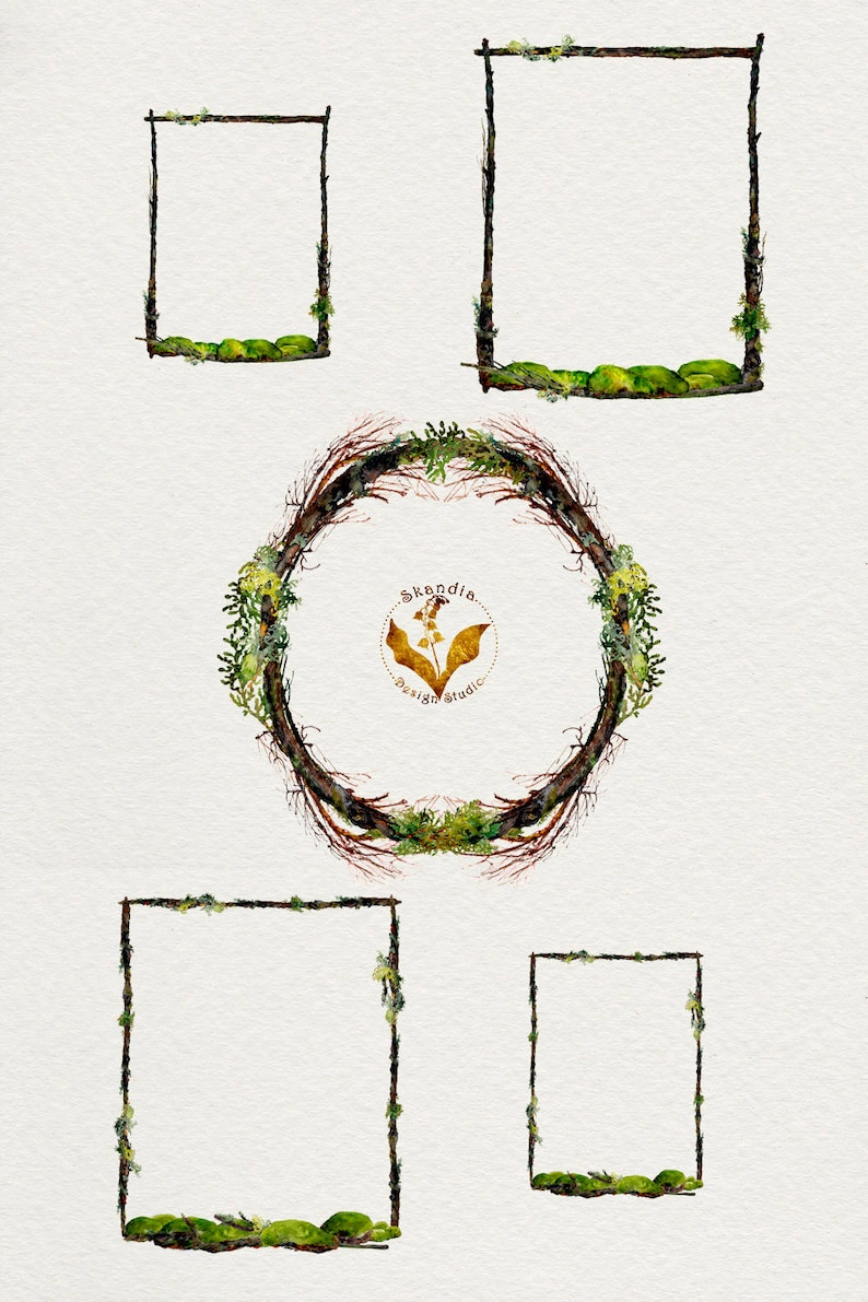 wreath clipart twig wreath rustic clipart Watercolor Clipart rustic boho clipart Woodland Clipart boho clipart, Handpainted clipart