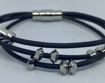 Leather bracelet with stainless steel beads. - Leather Anniversary -