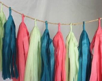 Macaroon Mania Tissue Paper Tassel Garland, Cute Nursery Tassel Garland, Sweet Treat Theme