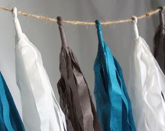 Cloudy Skies Tissue Paper Tassel Garland, Cute Nursery Tassel Garland, White Gray Blue Decor