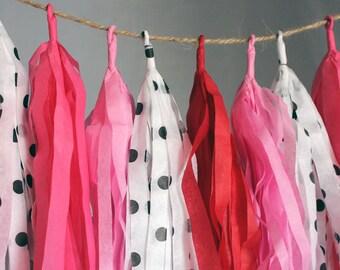 It's a Girl Polka Dots Tissue Paper Tassel Garland, Cute Nursery Tassel Garland, Gender Reveal Decor, Valentines Day