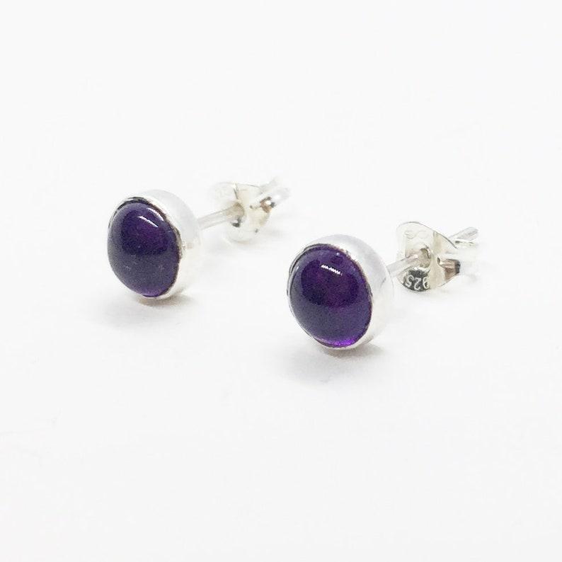 341834ddd SILVER AMETHYST STUDS Sterling Silver Purple Stud Earrings   Etsy