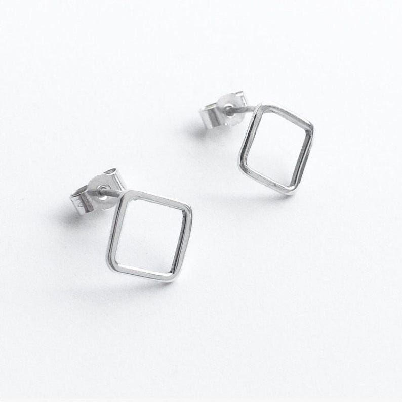 087053e96fa0ff GEOMETRIC DIAMOND STUDS Square Stud Earring Small Stud | Etsy
