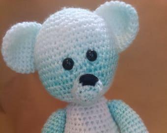 Crochet Teddy bear - Pale Blue/ Ombre - Amigurumi/Handmade