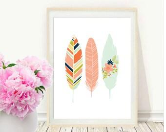 Pink Feather Print, Printable Art, Feather Art Print, Watercolour, Feather Art, Pink Wall Art, Digital Download, Modern Wall Art, Home Decor