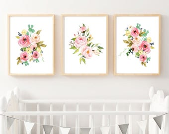Set Of 3 Prints Floral Print Watercolor Flower Instant Download Home Decor Wall