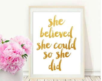 Inspirational Print,  She Believed She Could So She Did, Printable Art,Typography Quote, Wall Decor, Motivational Poster, Instant download