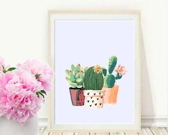 Cactus Art, Printable Art, Cactus Print, Home Decor, Potted Cactus, Watercolor, Succulents, Wall decor, Instant Download