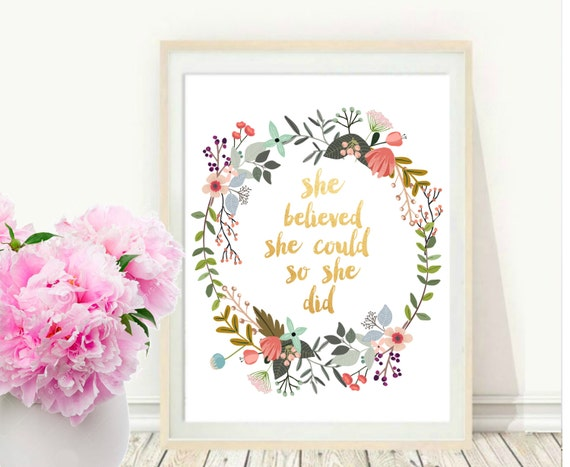 She Believed She Could So She Did Motivational Quote Etsy