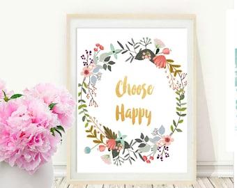 Choose Happy Print, Printable Wall Art, Typography Print, Colorful Wall art, Printable Quote, Modern Wall Art, Instant Download
