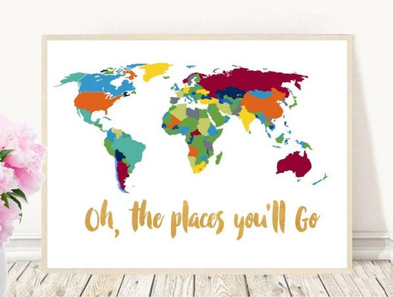 Oh The Places Youll Go Printable Art World Map Etsy