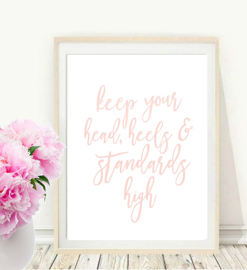 edf4a1c7488d6 Chanel Quote, Keep Your Head Heels and Standards High, Coco Chanel Print,  Girls Room Decor, Printable Art, Inspirational Print