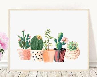 Cactus Print, Printable Art, Cactus Art, Home Decor, Potted Cactus, Watercolor, Succulents, Wall decor, Instant Download